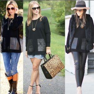 J Crew merino wool w leather pockets tunic sweater